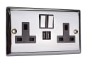 Switched Socket 2-Gang 13A with 2 x USB Chrome