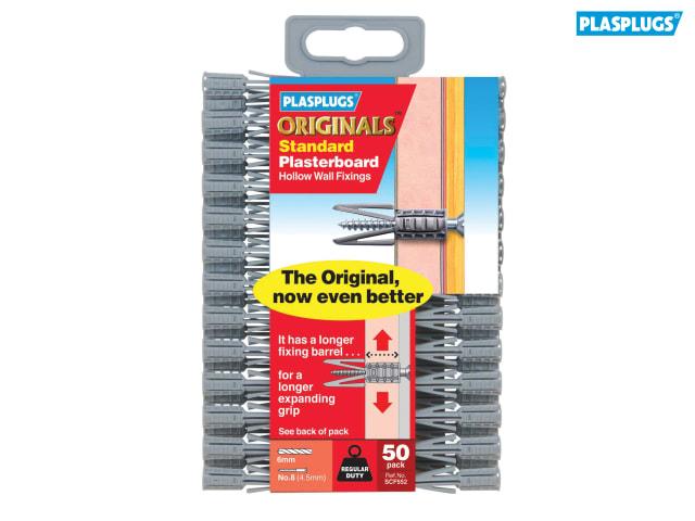 50 Plasplugs PLASCF552 SCF 552 ORIGINALS™ Plasterboard Fixings